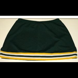 Girls Cheer Skirt Large Green & Yellow